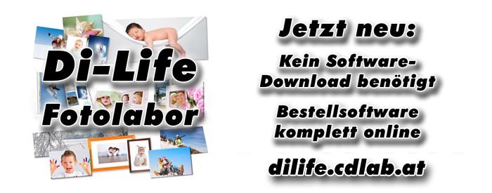 Di-Life Fotolabor, jetzt neu: Kein Software-Download benötigt. Bestellsoftware komplett online. dilife.cdlab.at