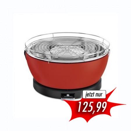 Holzkohle Tischgriller Feuerdesign Vesuvio rot