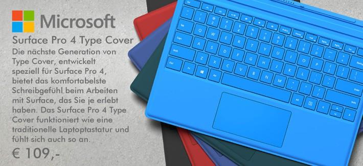 Microsoft Pro 4 Type Cover - Die nächste Generation von Type Cover, entwickelt speziell für Surface Pro 4, bietet das komfortabelste Schreibgefühl beim Arbeiten mit Surface, das Sie je erlebt haben. Das Surface Pro 4 Type Cover funktioniert wie eine traditionelle Laptoptastatur und fühlt sich auch so an. 109 Euro.