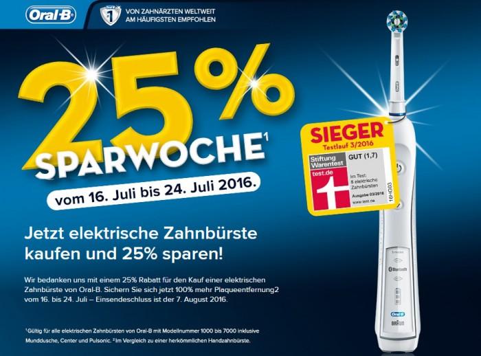 25% Sparwoche vom 16. Juli bis 24. Juli 2016. Jetzt elektrische Zahnbürste kaufen und 25% sparen! Wir bedanken uns mit einem 25% Rabatt für den Kauf einer elektrischen Zahnbürste von Oral-B. Sichern Sie sich jetzt 100% mehr Plaqueentfernung2 vom 16. bis 24. Juli – Einsendeschluss ist der 7. August 2016. 1 Gültig für alle elektriscchen Zahnbürsten von Oral-B mit Modelnummer 1000 bis 7000 inklusive Munddusche, Center und Pulsonic. 2 Im Vergleich zu einer herkömmlichen Handzahnbürste.